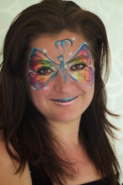 Jojo, face painting artist, neon butterfly, selfie, face painter